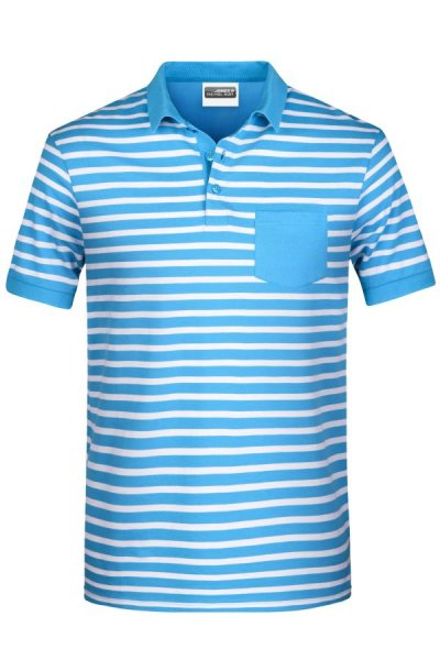 Mens Polo Striped, Polo in maritimem Look mit Brusttasche