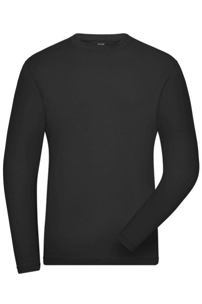 Mens BIO Stretch-Longsleeve Work - SOLID -, Langarm Shirt aus weichem Elastic-Single-Jersey