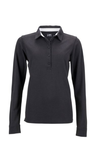Ladies Polo Long-Sleeved, Langarm Polo mit modischen Details