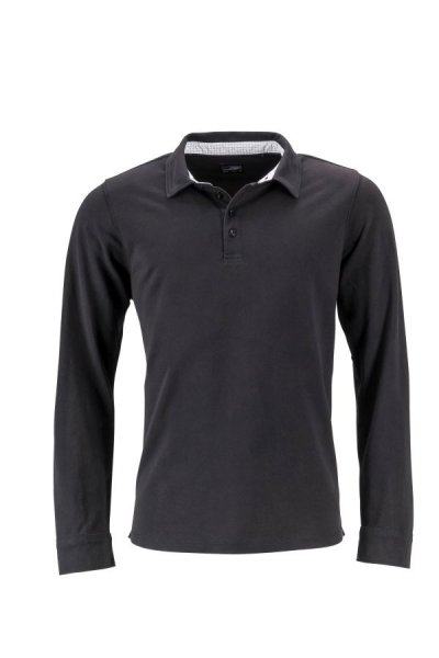 Mens Polo Long-Sleeved, Langarm Polo mit modischen Details