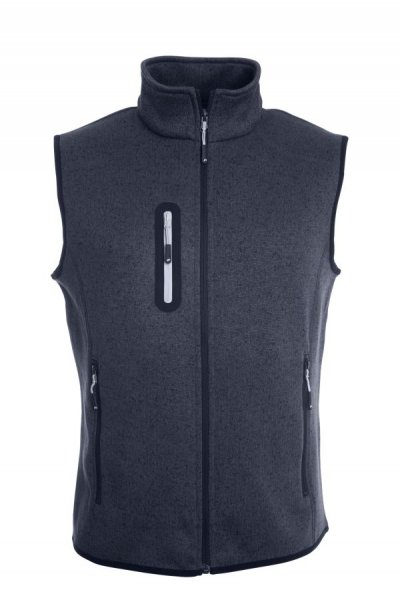 Mens Knitted Fleece Vest, Strickfleece Weste mit Stehkragen